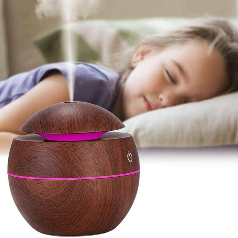Home USB Humidifier Air Purification Humidifier Ultrasonic Aromatherapy Wood Grain Essential Oil Diffuser with Colorful Light HHA595