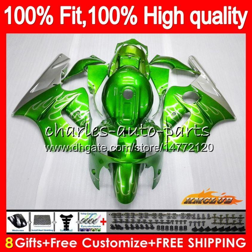 100% para inyección en forma para el kit KAWASAKI ZX1200 C ZX 1200 12R 1200cc 00 01 plateado verde 48HC.21 ZX 12 R ZX12R 00 01 ZX12R 2000 2001 OEM carenado