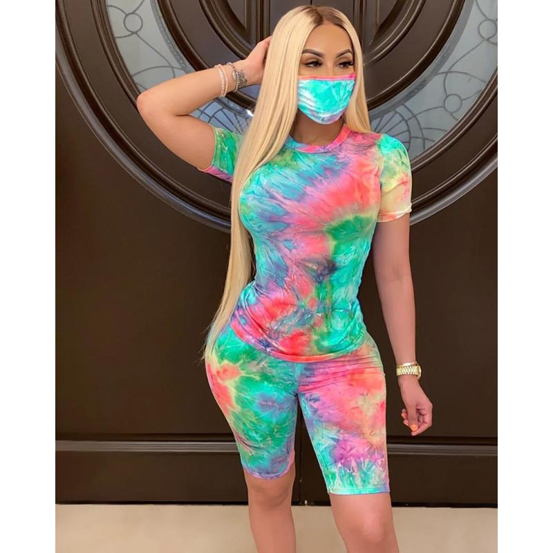 Print Two Piece Set Women Tie Dye Sport Fitness tracksuit Summer Short Sleeve Top and Short Set with Mask 2 Piece Streetwear