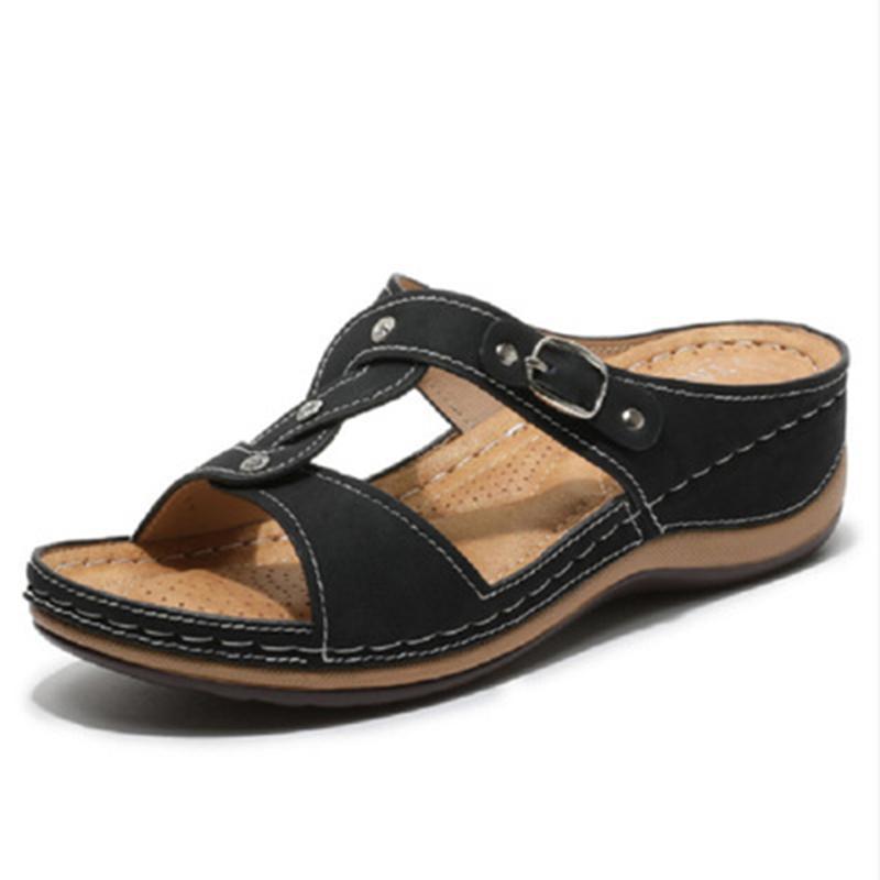 Sapatos Mulheres Verão para as mulheres Sandals Vintage Anti-Slip respirável Wedge Platform Sandals Cristal Abrir Toe Calçados Femininos