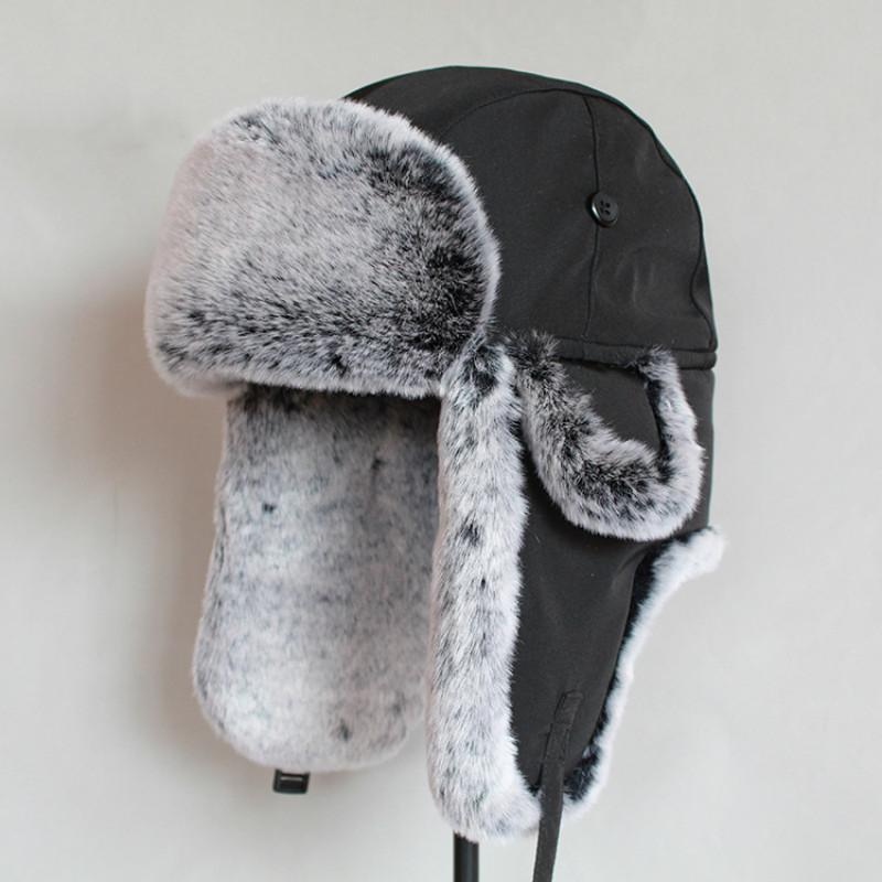 남성 가짜 모피 러시아어 모자 겨울 폭격기 모자 귀 두꺼운 따뜻한 캡 T200104를 펄럭 ushanka