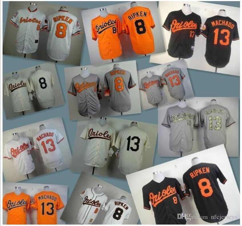 2020 men women kids Baseball Jerseys Oriol Stitched 8 Cal Ripken Jr 10 Adam Jones 13 Manny Machado white gray red black baseball Jersey love
