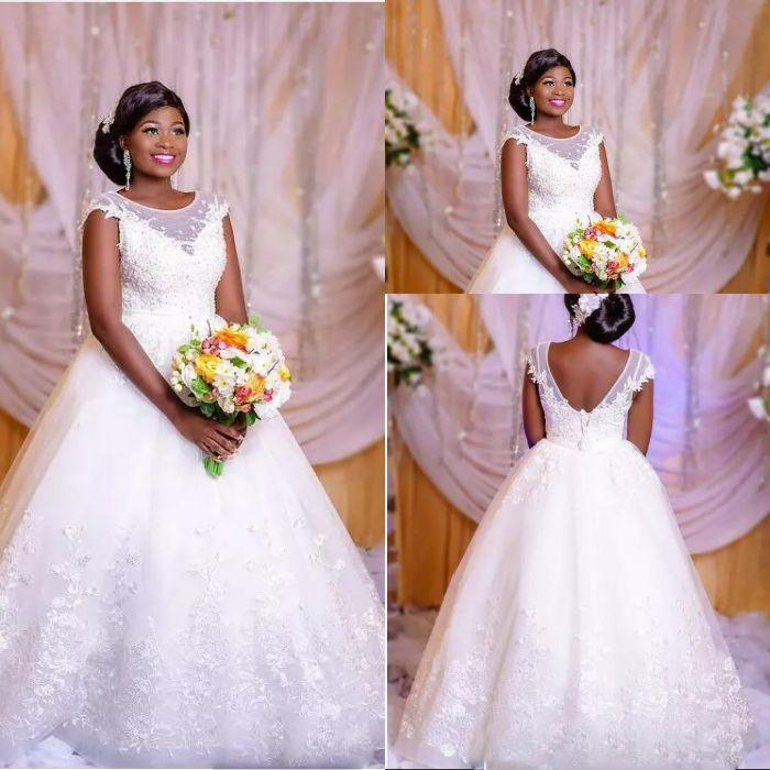 Princesse blanche dentelle robes de mariage sexy africaine Sheer encolure bateau Backless Plus Size Robes robe de mariée Robe de Noiva