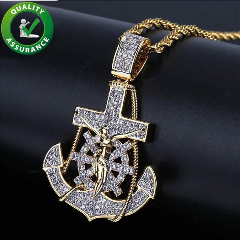 Ciondolo ghiacciato hip hop bling catene gioielli uomo designer di lusso collana mens diamante catena diamante ciondoli ancore timone croce rapper hiphop oro