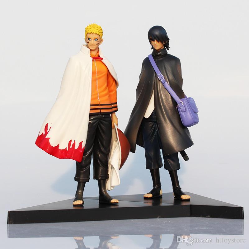 2Pcs / Lot Naruto Figure 우즈 마키 나루토와 Uchiha 사스케 PVC 액션 피규어 완구 모델 인형 16cm 그레이트 선물