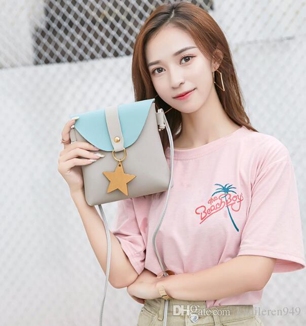 2019 ins moda çanta çapraz omuz çantası renk eşleştirme rahat küçük kare çanta yıldız cep telefonu değişikliği parcel0