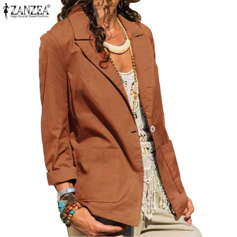 de ZANZEA Blazers 2020 Moda femenino de la talla sólido ocasional de la chaqueta larga de la manga del otoño del resorte Outwear Chaqueta Mujer 5XL 7