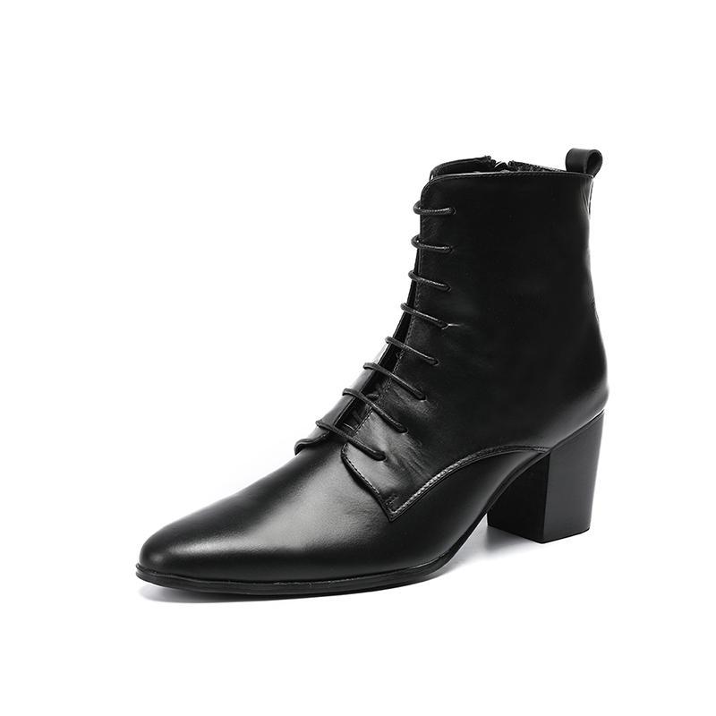 Hommes gothique Roche Chevalier Bottes Toe Pointu Punk à lacets Motor Biker Cowboy piste High Top Med Heels véritables chaussures en cuir