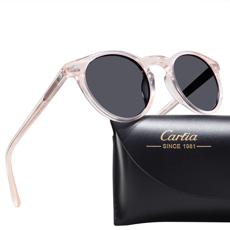 CARFIA POLARISERADE Solglasögon för kvinnor 5288 Ovala runda Ram Solglasögon UV 400 Skydd Acatathartsglasögon med låda