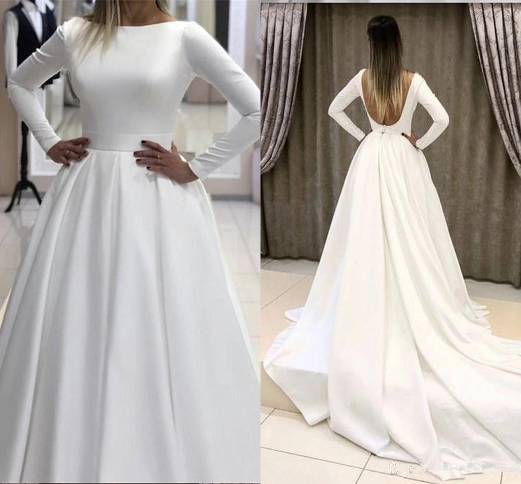 Winter Langarm Brautkleider 2019 Sexy Offener Rücken Bateau Satin Geraffte Land Hochzeitskleid Braut Party Kleider Nach Maß