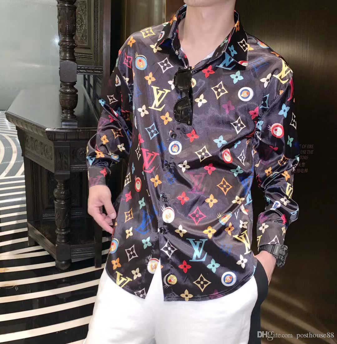 Commercio all'ingrosso - catena d'oro Harajuku Medusa designer Dog Rose stampa camicie Moda retrò maglione floreale Uomo manica lunga magliette camicie da donna casual