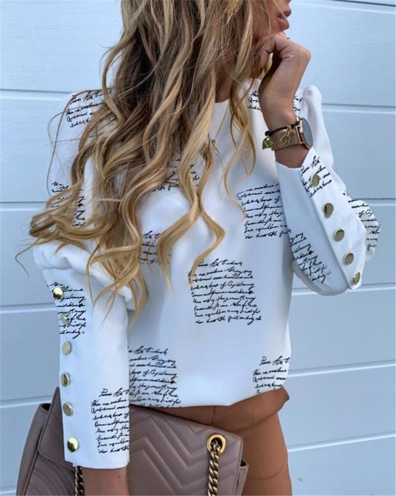 편지는 여성 파인애플 프린트 탑 블라우스 오피스 레이디 가을 금속 놨는데 긴 소매 우아한 솔리드 화이트 셔츠를 인쇄
