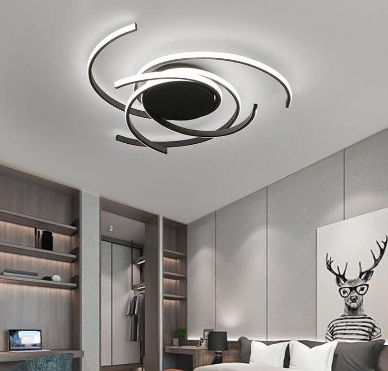 Techo moderno creativo LED de luces de la sala dormitorio Estudio Balcón Iluminación de interior Negro / blanco de aluminio de la lámpara de techo accesorio de iluminación