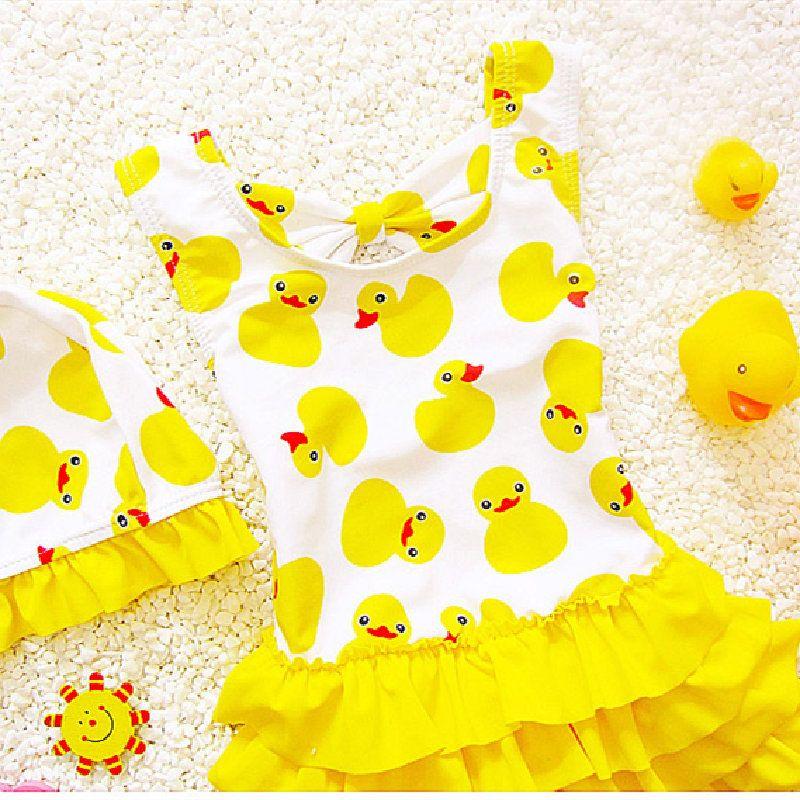 1-8 سنوات الاطفال الاطفال ملابس السباحة للفتيات جميل أصفر بطة المايوه الأطفال ملابس السباحة الأميرة قطعة واحدة ملابس السباحة قبعة