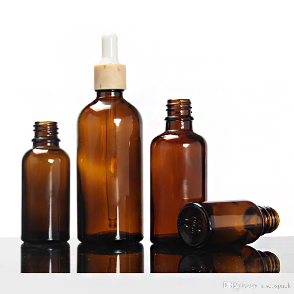 Пустая круглая стеклянная бутылка эфирного масла 20 мл, косметическая прозрачная янтарная жемчужно-белая бутылка сыворотки, стеклянная упаковка масла со специальным воротником