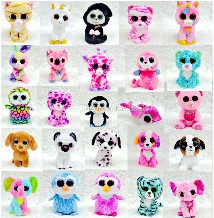 25 cm conejito de Pascua Ty Beanie Boos grandes ojos de conejo de juguete de felpa de la muñeca de la tortuga elefante jirafa llavero muñeca de la felpa animales de juguete