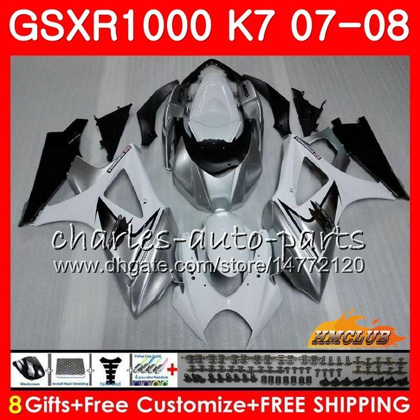 Carrocería para Suzuki GSXR-1000 Plateado Blanco GSXR1000 2007 2008 07 08 BODY 12HC.5 GSX R1000 GSX-R1000 K7 GSXR 1000 07 08 Kit de carenado ABS