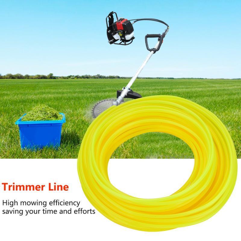 Corde de coupe-bordure 15M à faible bruit pour débroussailleuse Tondeuse à gazon coupe-herbe jaune / rouge