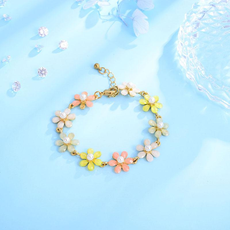 heap Bangles Shineland Women Fashion Bridal Jewelry Flower Bohemian Colorful Resin Simulated Pearl Bracelets & Bangles for Gril Children ...