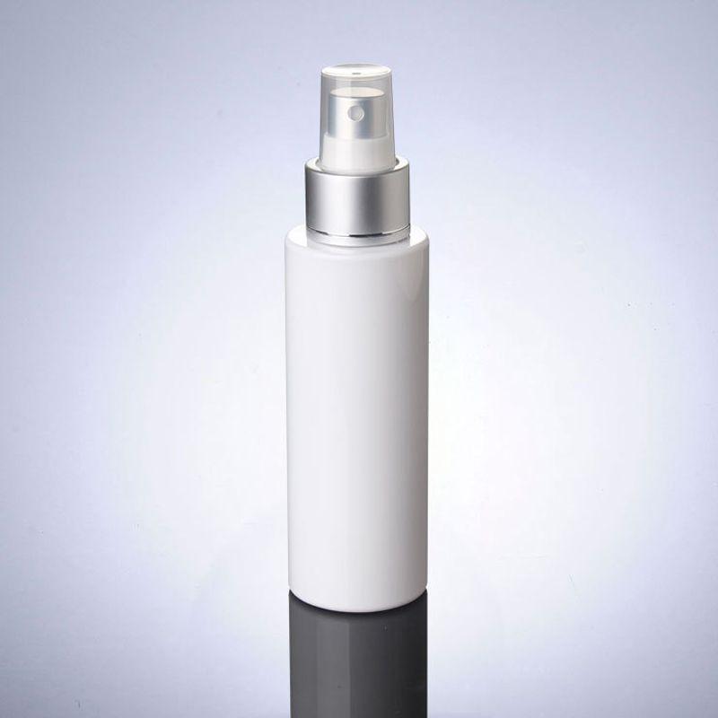 100ML blanc Bouteilles en plastique avec Silver Spray Pompe Maquillage Sous-embouteillage Emballage Toner / Bouteilles d'eau en gros