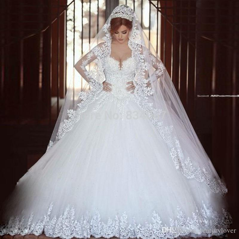 New Sexy Puffy Wedding Dresses Sweetheart Tulle Lace Appliques Long Sleeves Sheer Back Court Train Plus Size Arabic Wedding Bridal Gowns