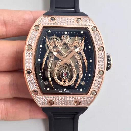 44MM spider diamonds Best QUALITY RM19-01 RM19 RUBBER STRAP AUTOMATIC MEN WATCH wristwatch mens Natalie Portman WATCH LIMITED EDITION