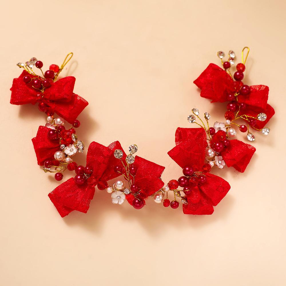 الأحمر bowknot الدانتيل العصابة مقلد لؤلؤة الأزياء الكورية اكسسوارات للشعر غطاء الرأس لحضور حفل زفاف العروس غطاء الرأس يدويا المجوهرات