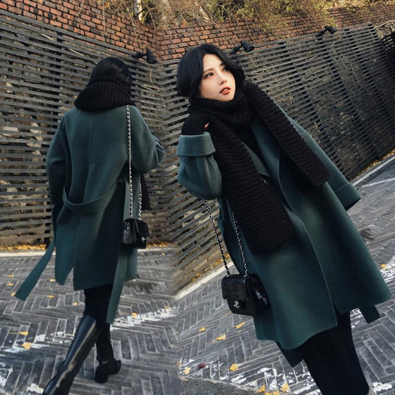 Office Lady Loose Women Long Winter Wool Blend Coat Turn-down Collar Solid Wool Coat and Jacket Open Stitch Outerwear