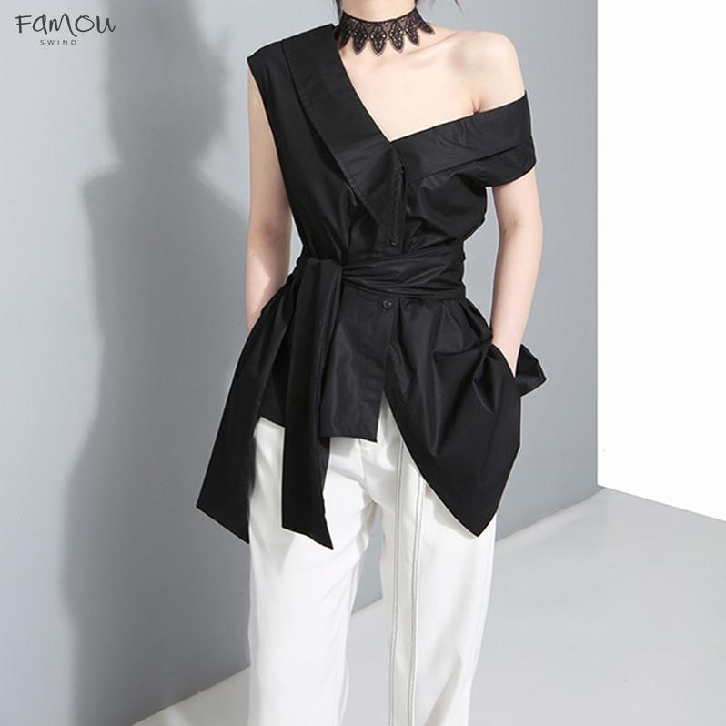 Sashes Kolsuz Tunik Bayan Bluzlar Haki Yaz V Yaka Siyah Gömlek Düzensiz Gevşek Gömlek Casual Tops