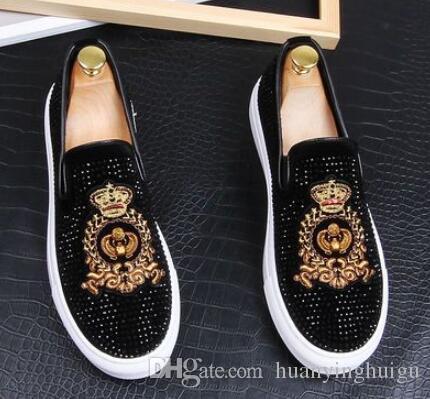New Dandelion Spikes Flache Lederschuhe Strass Fashion Men Stickerei Loafer Dress Schuhe Smoking Slipper Casual Diamond Schuhe