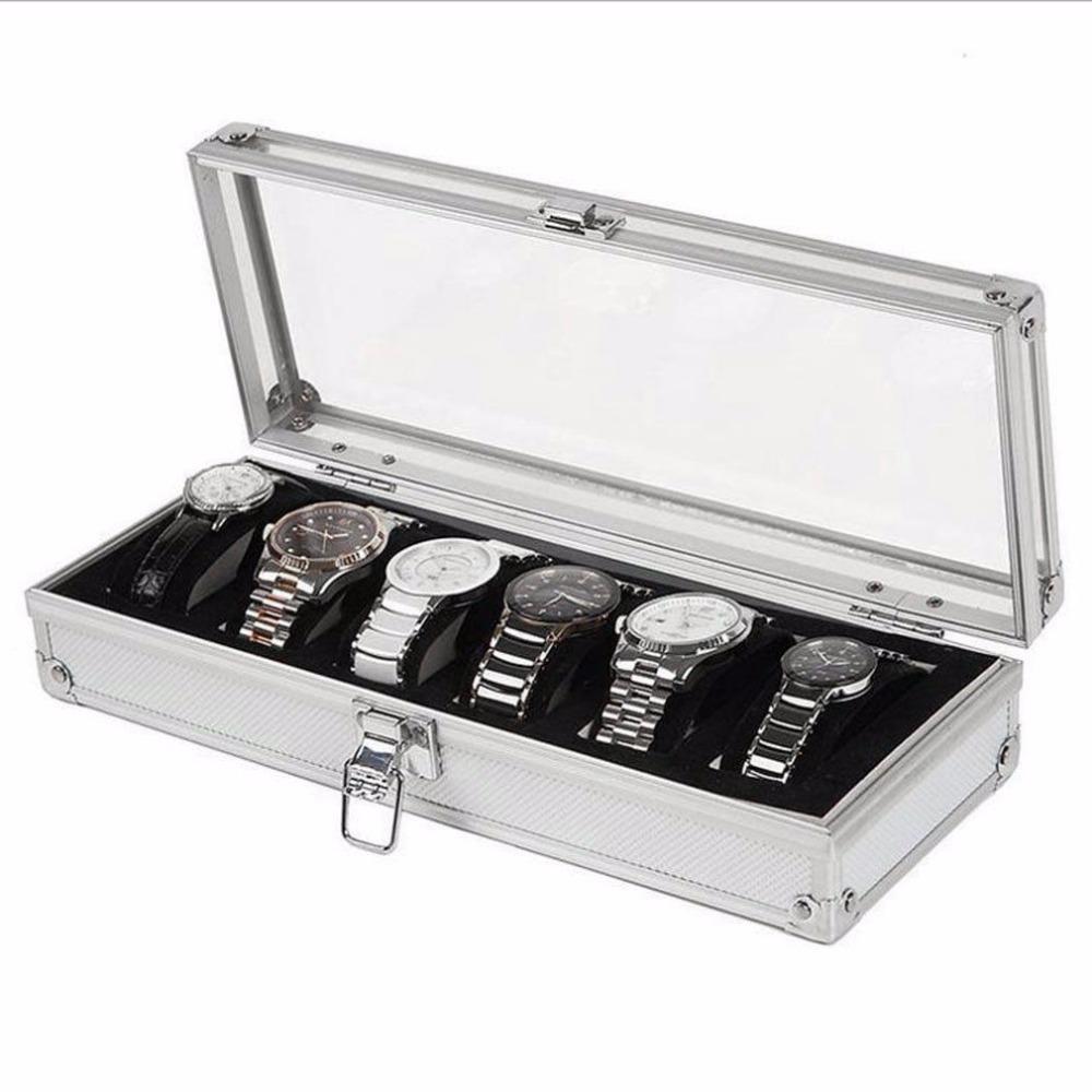 2/3/6 Grade Relógio caixas Madeira Alumínio Couro Watch Box Handmade acrílico Top Suede Pillow coleção de jóias de exibição