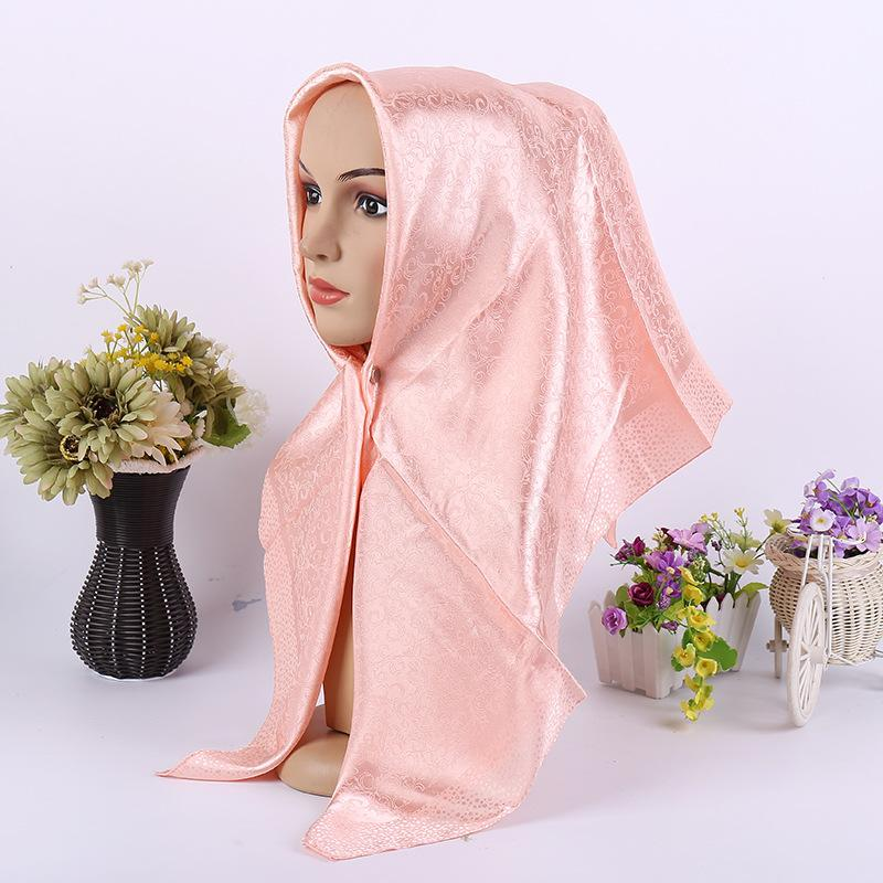 2019 new style cheap solid color satin women hijab scarf large size the most beautiful arab hijab scarf for women wholesale