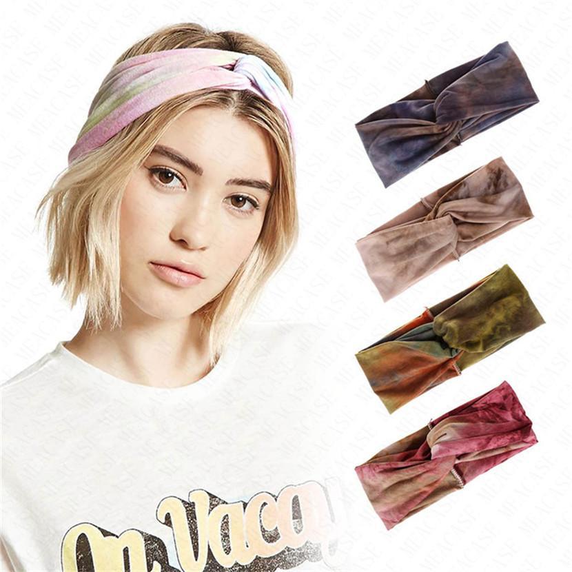 Женщины Tie-окрашенного оголовье Упругого Крест Большого лук Hairbands Йога Фитнес Run Пот Группа Cross Knot Широкополосные Тюрбан Bohemian платок NewD62907