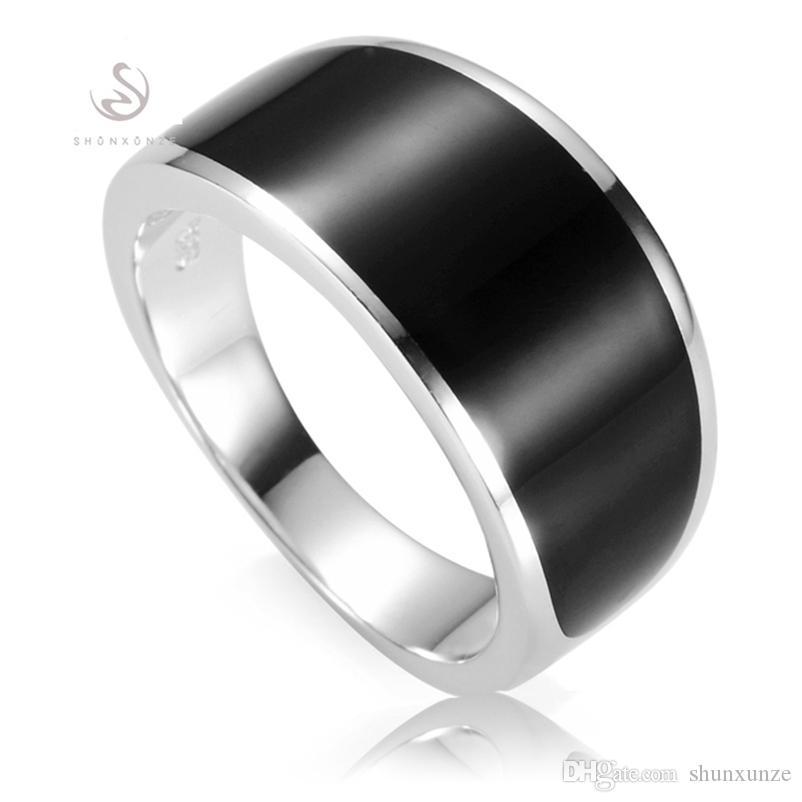Shunxunze wystawność czarna emalia 925 Sterling Silver biżuteria Akcesoria męskie Pierścienie męskie Dropshipping S-3776 Rozmiar 7 8 9 10 11 12 13