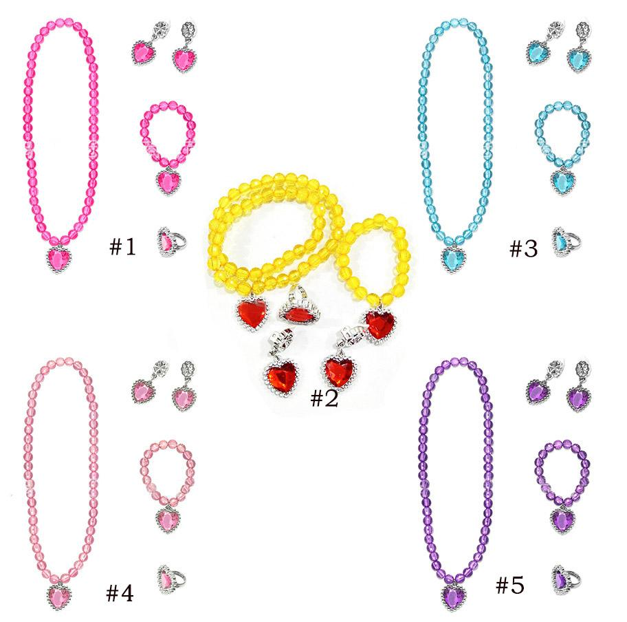5 Colors Princess Queen Cosplay Accessories Jewelry Sets Necklaces Ring earrings bracelet Set Presents for Girls Dress Up 5pcs/set BY1458