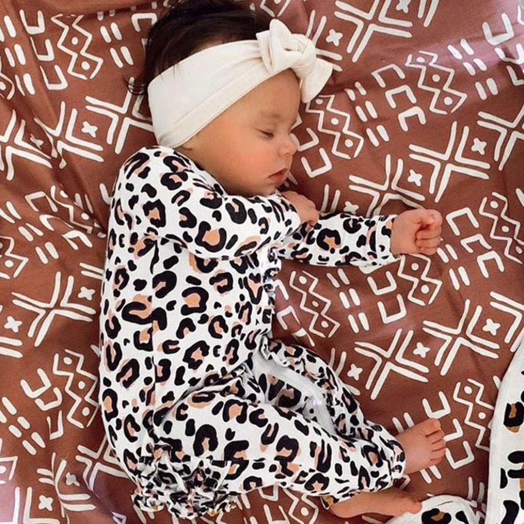 Infant Baby Boys&Girls Long Sleeve Leopard Print Ruffles Romper Jumpsuit Clothes organic cotton baby clothes winter baby romper