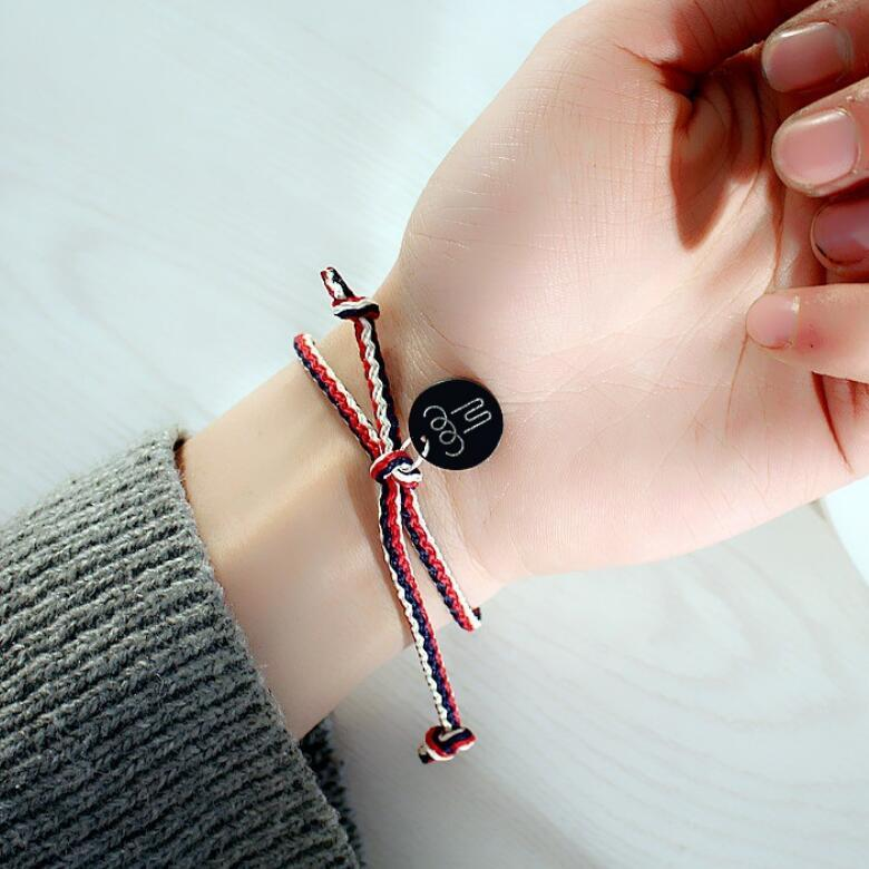 Fashion-jewelry famous idol bracelets withice GD bracelets rope chain weaving round card pendant for unisex hot fashion