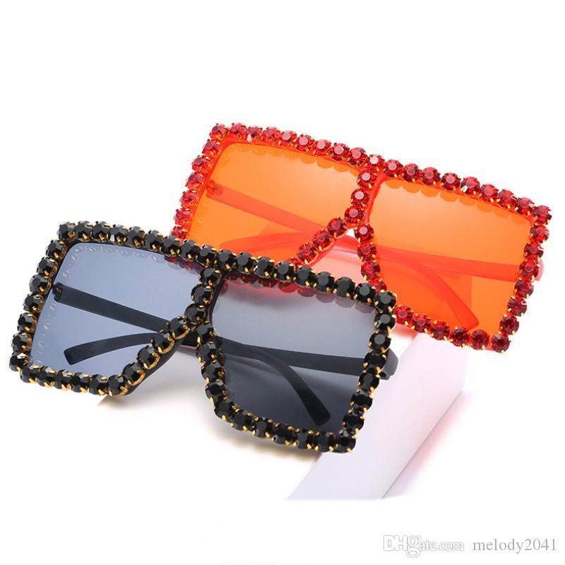 18 Renkler Kadın Kare Lüks Akrilik Rhinestone Güneş Gözlüğü Boy Renkli Elmas Çerçeve Shades Büyük Güneş Gözlükleri Toptan