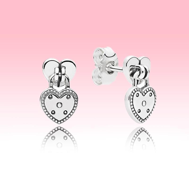 Monili Wedding Amore ciondolo a cuore Donne dell'orecchino della vite prigioniera per Pandora 925 orecchini di lusso di design con cofanetto originale