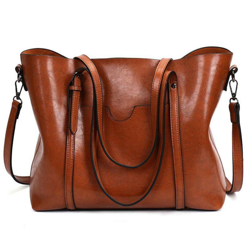 Piel Valenkuci Las bolsas de aceite de cera de señora de las mujeres del bolso de mano con el monedero del bolsillo de Mensajería mujer totalizador grande Sac Bols