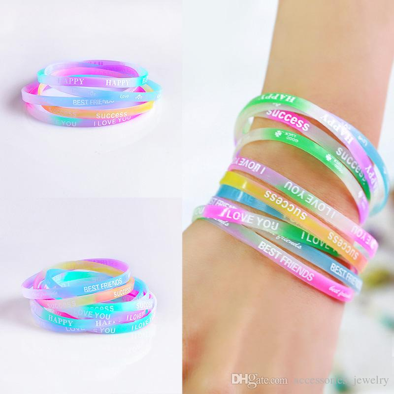 New Fashion Summer Sport Silicone Bracelets Candy Color Printed Rubber Wristband Bracelets Jewelry for Sale 12PCS
