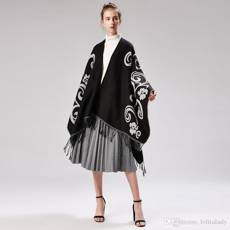 Fashion Jacquard Women Travel Shawls Autumn Winter Warm Girl Pashmina High Quality Air Conditioning Poncho for Lady