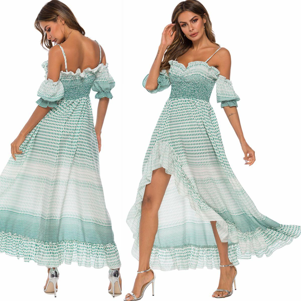 Women V Neck Cold Shoulder Mini Dresses Ladies Summer Holiday Party Ruffle Dress