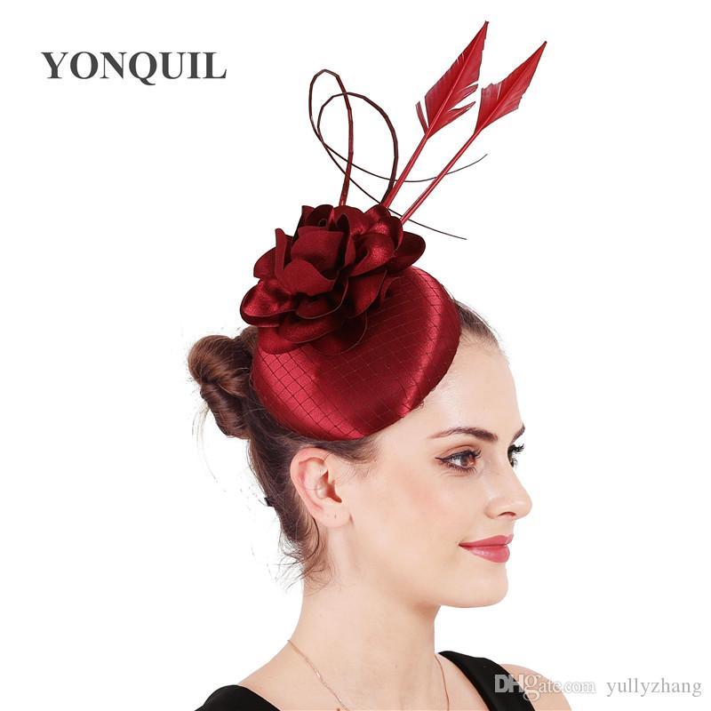 kestane düğün fascinator şapka muhteşem kadın tüyler saten Yüksek kaliteli saç bandı aksesuarları güzel çiçek chapeau ücretsiz gemi ile bay giyimi