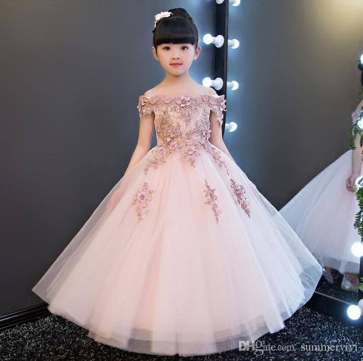 꽃 여자 드레스 스테레오 꽃 아플리케 이슬 어깨 공주 드레스 레이스 얇은 명주 그물 긴 드레스 볼 가운 어린이 미인 대회 드레스 F877