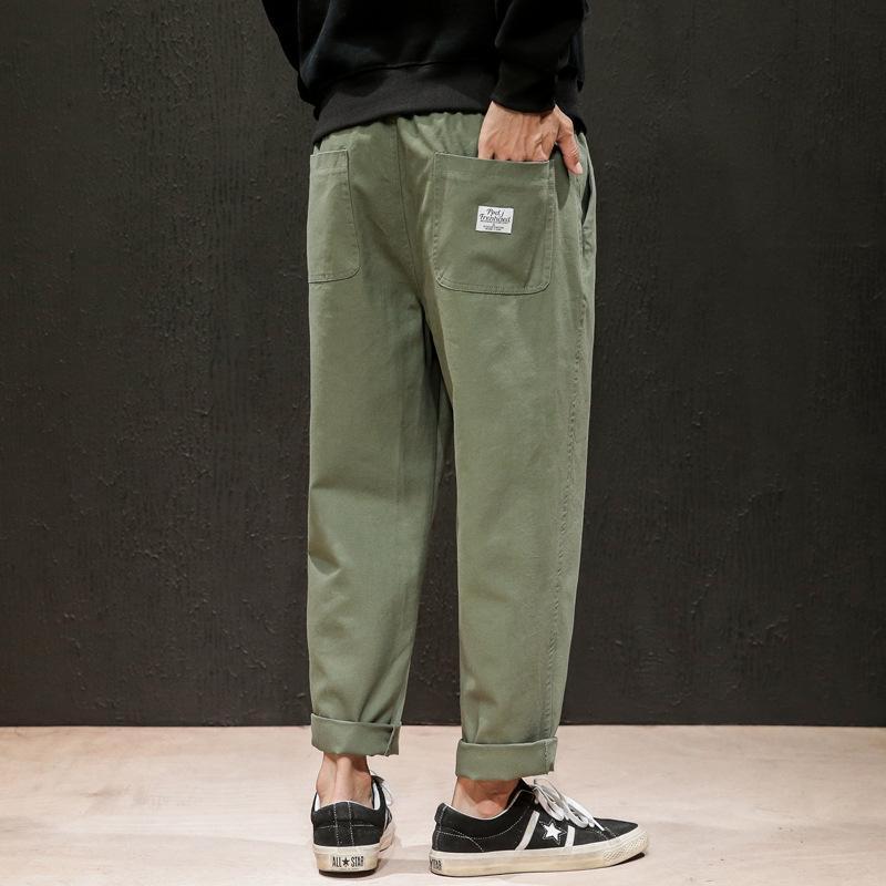 Calças Mens Sweatpants japonês Masculino de linho Pant masculino solto Sweatpants Sólidos Harajuku Corredores Streetwear Harem