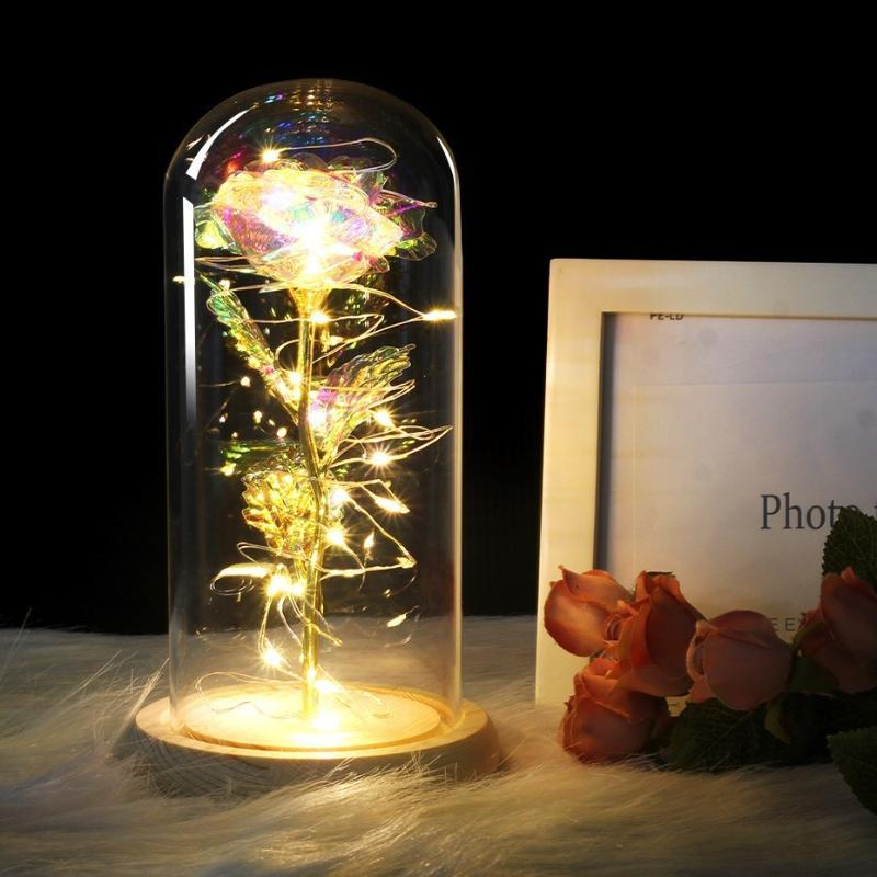 13 Colour Red Rose In A Glass Dome On A Wooden Base For Valentine's Gifts LED Rose Lamps Christmas