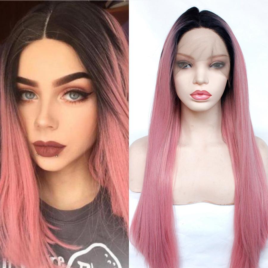 Parrucca rosa Ombre parte anteriore del pizzo di Glueless sintetica del merletto per le donne termoresistente fibra sintetica Roots capelli Neri 1B / rosa Ombre capelli lisci