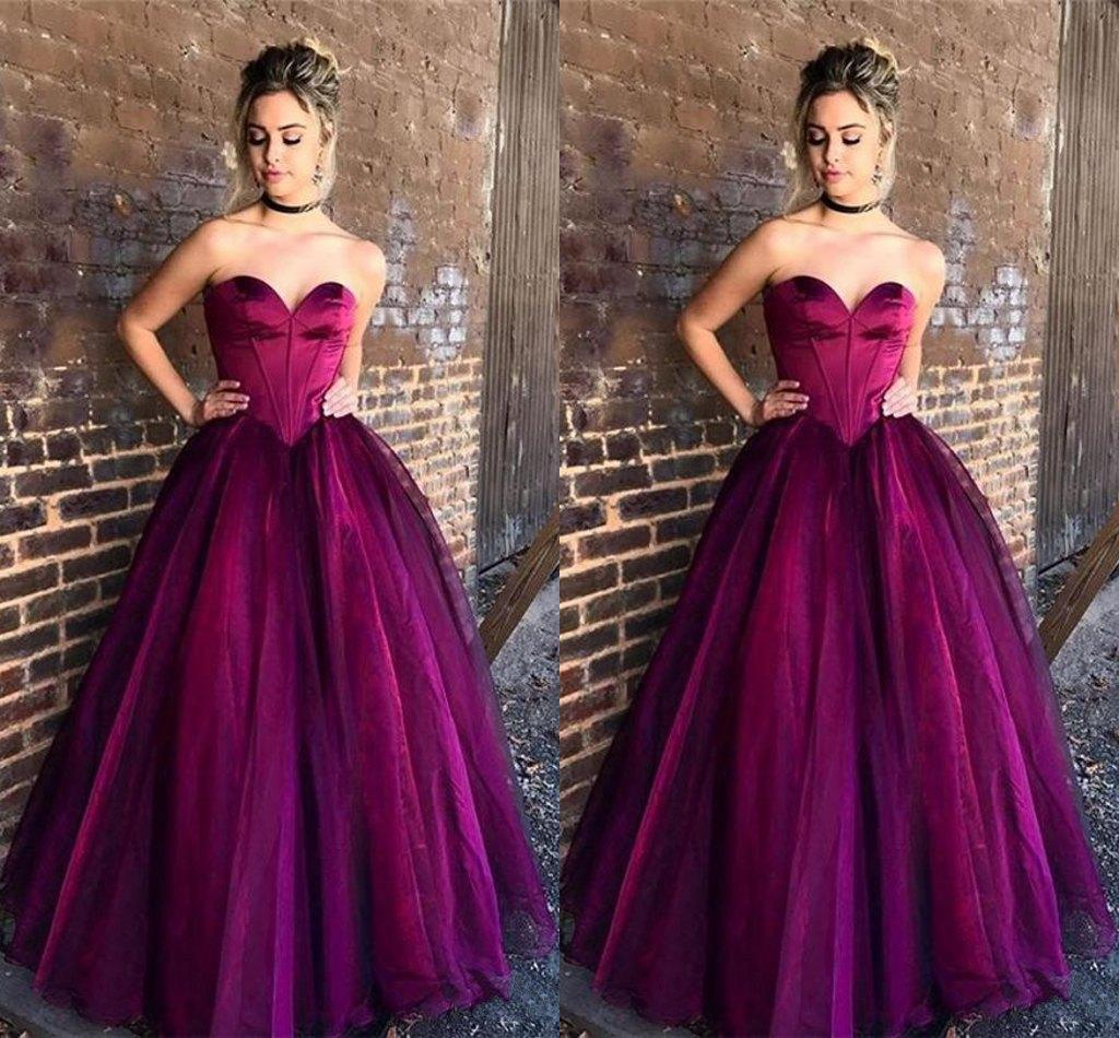 Simple Purple Ball Gown Prom Dresses 2018 New Sweetheart Soft Tulle Floor Length Corset Graduation Party Gowns Simple Quinceanera Dress