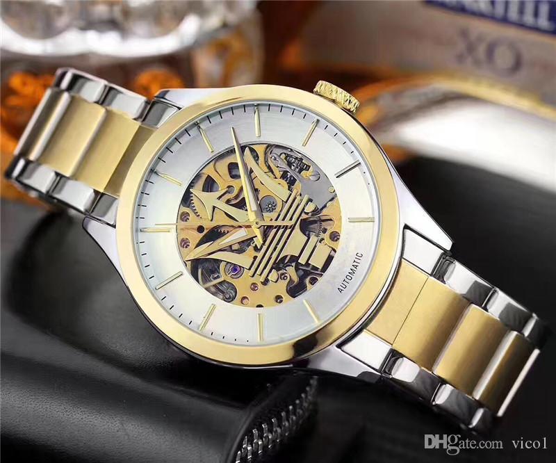 relojes mecánicos de la marca caliente de los hombres italianos Montre homme moda diseño hueco especial de todos los hombres del reloj de acero Reloj de los hombres